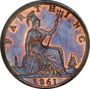 1 Farthing - Victoria (2nd portrait; 1st type) – reverse