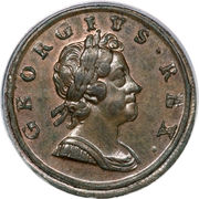 ½ Penny - George I ('Dump' issue) – obverse