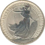 2 Pounds - Elizabeth II (4th portrait; 1 oz Fine Silver) -  reverse