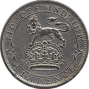 6 Pence - George V (2nd coinage) -  reverse