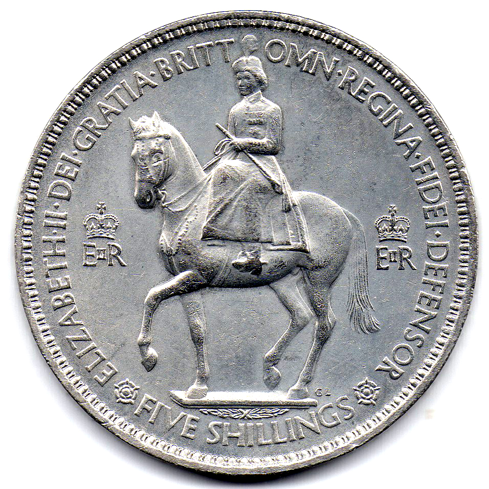 1955 Five Shilling Coin Value http://en.numista.com/catalogue/pieces5749.html