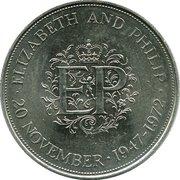 25 New Pence - Elizabeth II (Silver Wedding) -  reverse