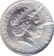 2 Pounds - Elizabeth II (4th portrait; 1 oz Fine Silver) -  obverse