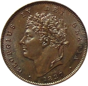 ⅓ Farthing - George IV (Colonial issues) – obverse