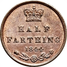 ½ Farthing - Victoria (1st portrait; incl. Colonial) – reverse