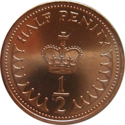 ½ Penny - Elizabeth II (2nd portrait) -  reverse