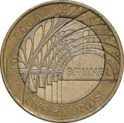 2 Pounds - Elizabeth II (4th portrait; Paddington Station) -  reverse