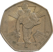 50 Pence - Elizabeth II (4th portrait; Victoria Cross, soldier) -  reverse