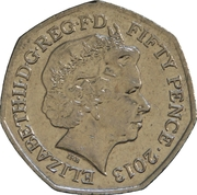 50 Pence - Elizabeth II (4th portrait; Benjamin Britten) -  obverse