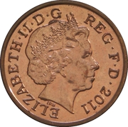 1 Penny - Elizabeth II (4th portrait; Royal Shield) -  obverse