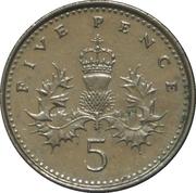 5 Pence - Elizabeth II (4th portrait; Crowned Thistle) -  reverse