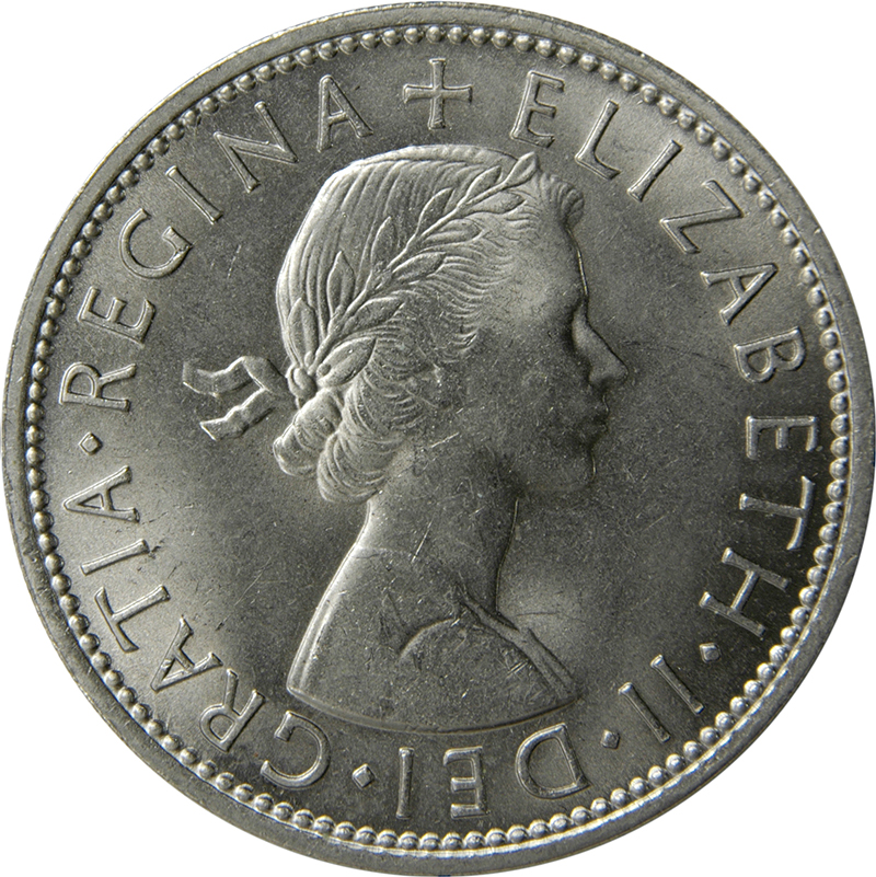 1961 two shilling coin