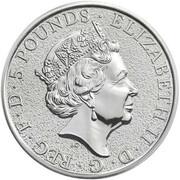 5 Pounds - Elizabeth II (Lion of England; 2 oz Fine Silver) -  obverse