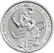 5 Pounds - Elizabeth II (Lion of England; 2 oz Fine Silver) -  reverse