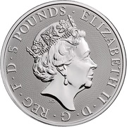 5 Pounds - Elizabeth II (White Horse of Hanover; 2 oz Fine Silver) -  obverse