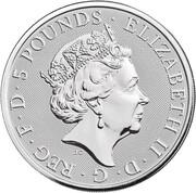 5 Pounds - Elizabeth II (White Greyhound of Richmond; 2 oz Fine Silver) -  obverse
