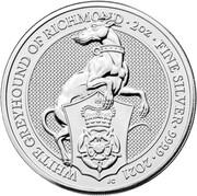 5 Pounds - Elizabeth II (White Greyhound of Richmond; 2 oz Fine Silver) -  reverse