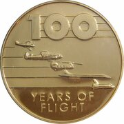 Token - 100 Years of Flight (#01b - Wright Flyer) -  reverse