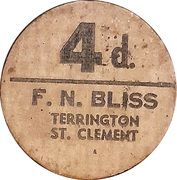 4 Pence - F.N. Bliss Farm (Terrington, St. Clement; pickers token) – obverse