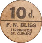 10 Pence - F.N. Bliss Farm (Terrington, St. Clement; pickers token) – obverse