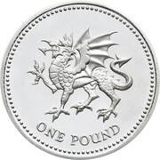 1 Pound - Elizabeth II (Welsh Dragon; Silver Piedfort) -  reverse