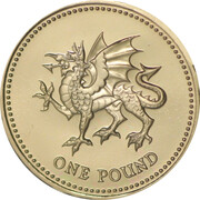 1 Pound - Elizabeth II (4th portrait; Welsh Dragon) -  reverse