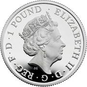 1 Pound - Elizabeth II (5th portrait; 1/2 oz Fine Silver) – obverse