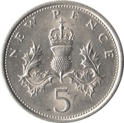 5 New Pence - Elizabeth II (2nd portrait) -  reverse