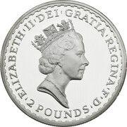 2 Pounds - Elizabeth II (3rd portrait; 1 oz Fine Silver) – obverse