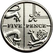 5 Pence - Elizabeth II (5th portrait; Royal Shield) -  reverse