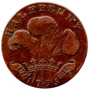 ½ Penny (Middlesex - National Series / Prince of Wales) – reverse