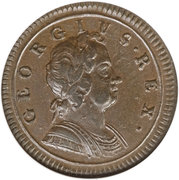 ½ Penny - George I (2nd issue; larger flan) – obverse