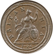 ½ Penny - George I (2nd issue; larger flan) – reverse