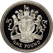 1 Pound - Elizabeth II (Royal Arms; Silver Piedfort) -  reverse