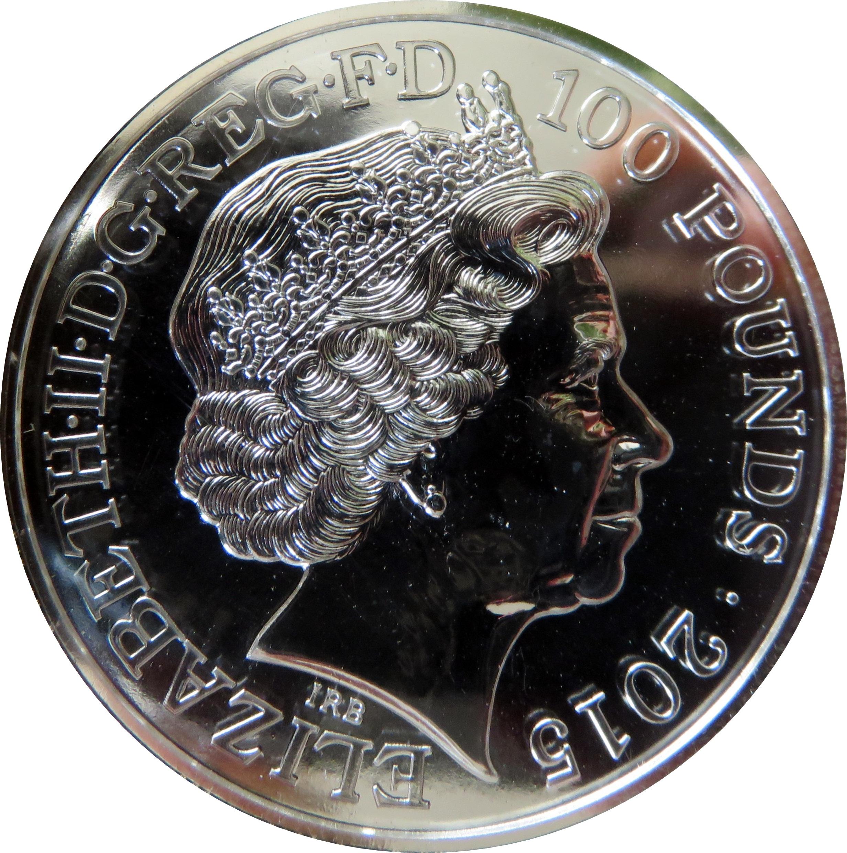 100 Pounds Elizabeth Ii 2 Oz Fine Silver Ben