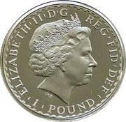 1 Pound - Elizabeth II (4th portrait; 1/2 oz Fine Silver) – obverse