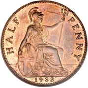 ½ Penny - George V (smaller portrait) -  reverse