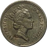 1 Pound - Elizabeth II (3rd portrait; Royal Arms) -  obverse