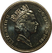 1 Pound - Elizabeth II (3rd portrait; Welsh Leek) -  obverse