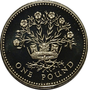 1 Pound - Elizabeth II (3rd portrait; Northern Irish Flax) -  reverse