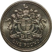1 Pound - Elizabeth II (2nd portrait; Royal Arms) -  reverse