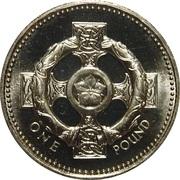 1 Pound - Elizabeth II (3rd portrait; Celtic Cross) -  reverse