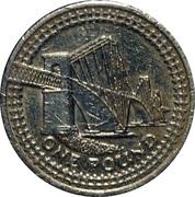 1 Pound - Elizabeth II (4th portrait; Forth Bridge) -  reverse