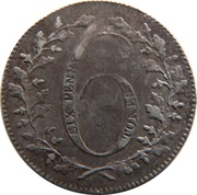 6 Pence (Not Local - Britannia on cannon) – obverse