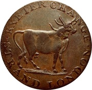 ½ Penny (Middlesex - Pidcock's / Two-headed cow) – obverse