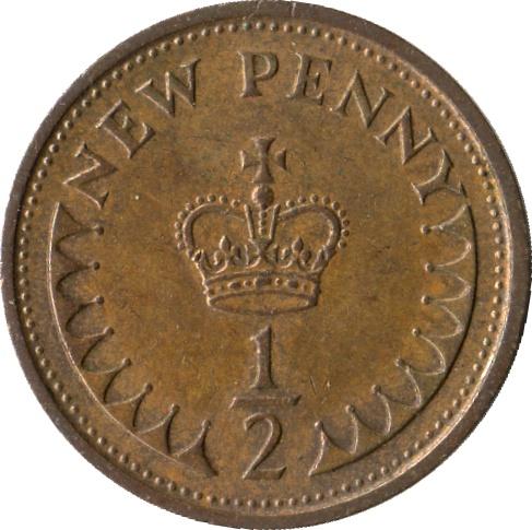 ½ New Penny - Elizabeth II (2nd portrait) - United Kingdom