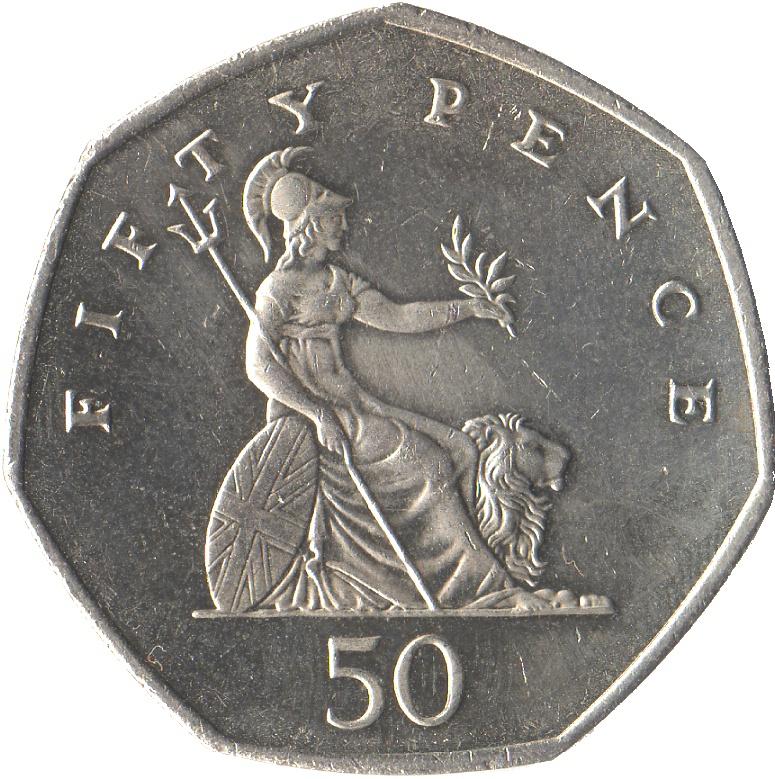 50 Pence Elizabeth Ii 4th Portrait Britannia United
