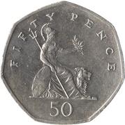 50 Pence - Elizabeth II (3rd portrait; large type) -  reverse