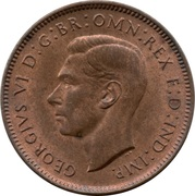 1 Farthing - George VI (with 'IND:IMP') -  obverse