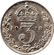 3 Pence - George V (1st issue; incl. Maundy) -  reverse